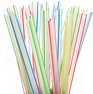 """ALINK Extra Wide Fat Boba Straws, 1/2"""" Jumbo Plastic Striped Smoothie Straws for Bubble Tea and Milkshake, Pack of 100"""