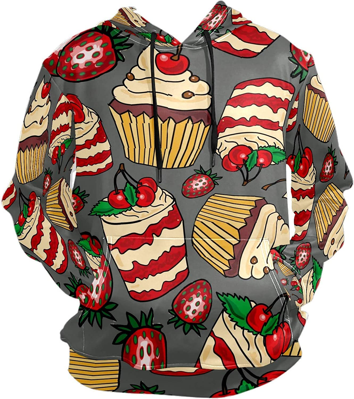 Men's Sport Hoodie 8 / 5000 翻译结果 Sweet Food Strawberry Cupcakes Big and Tall Hoodies for Men Women Oversized Hooded Sweatshirt Hip Hop Pullover Hoodie Midweight Hood for Boys Girls