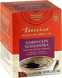 Teeccino Mushroom Adaptogen Herbal Tea – Cordyceps Schisandra Cinnamon Berry – Support Your Health with Mushrooms & Adapto...
