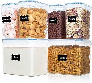 Vtopmart boîtes de Conservation Alimentaire sans BPA de Nourriture en Plastique avec Couvercle,Ensemble De 6 + 24 Étiquett...