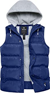 Women's Quilted Padding Puffer Vest with Removable Hooded