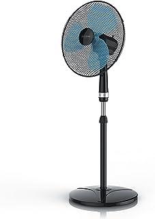 Brandson – Ventilador de pie de 40 cm – Altura hasta 122 cm – Oscilación conmutable – 3 niveles de potencia – 50 W – Alto flujo de aire – Silencioso – Negro y azul