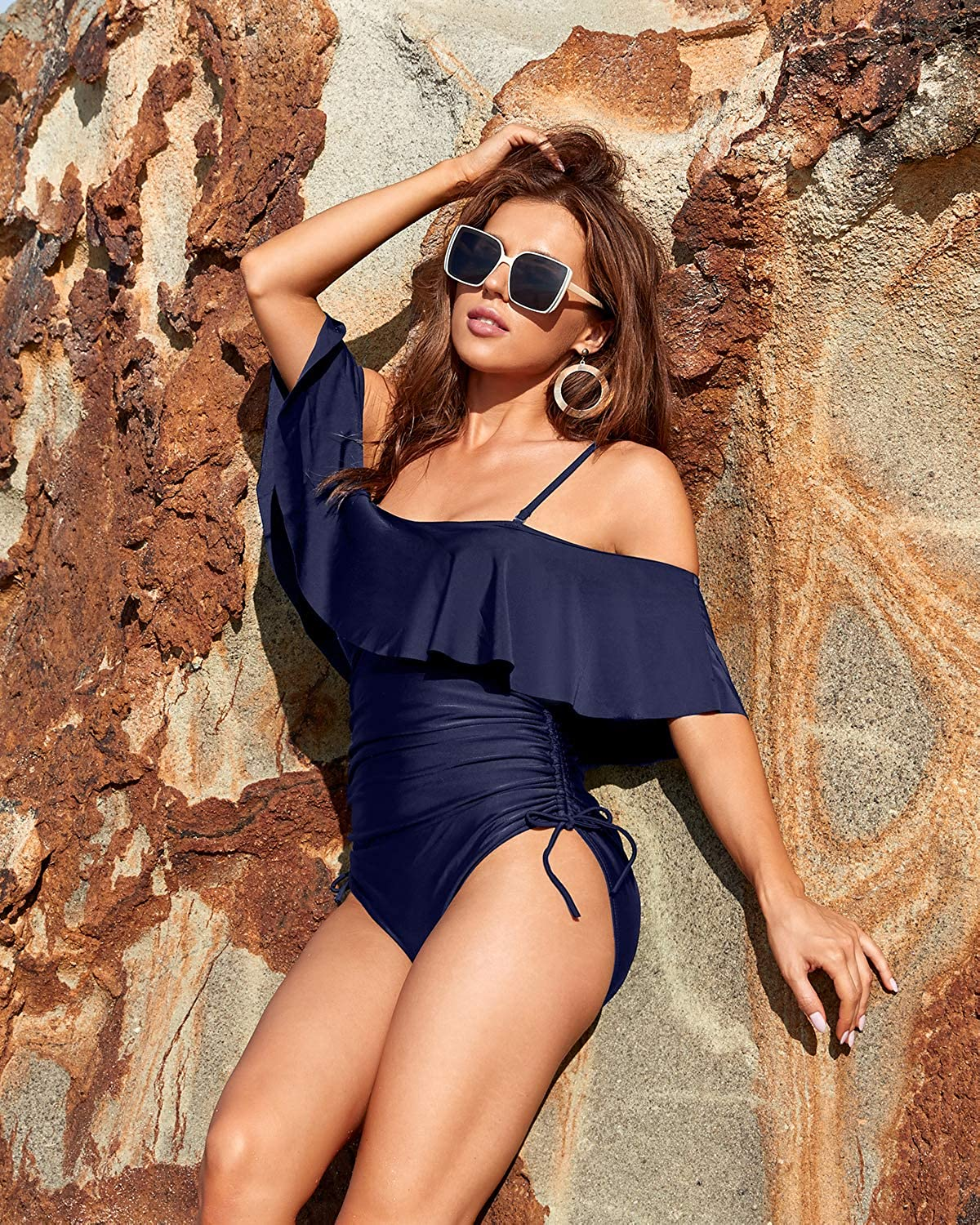 Aqua Eve Women One Piece Flounce Off The Shoulder Swimsuits Tummy Control Strapless Bathing Suits