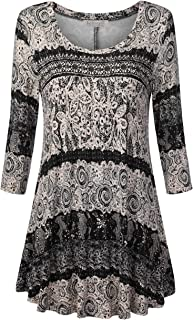 Women's Scoop Neck 3/4 Sleeves Floral Tunic Tops Shirts