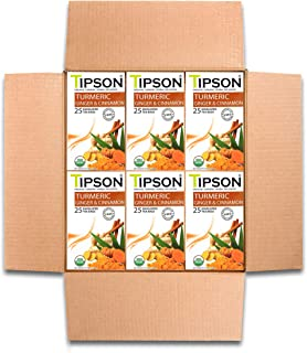 Tipson Tea Organic Tumeric Ginger & Cinnamon with Herbal Infusions- 150 Tea Bags by MunchBox