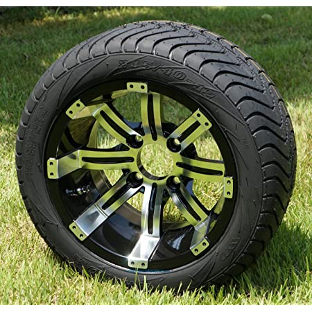 """12"""" Tempest Machined/Black Wheels and 215/35-12 Low Profile DOT Tires Combo - Set of 4 (Club Car/EZGO (1/2x20))"""