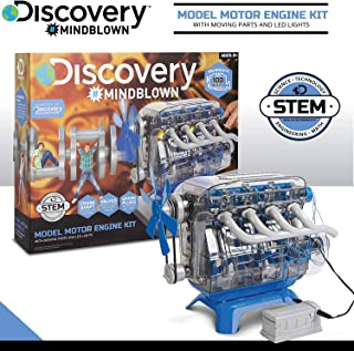 MindBlown DIY Model Engine Kit - Mechanic Four Cycle Internal Combustion Assembly Construction, Comes W/Valves, Cylinders, Hardware & Much More