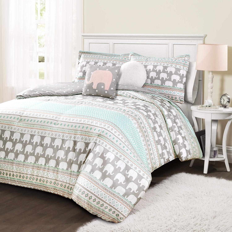Lush Decor Elephant Stripe 4 Piece Comforter Set, Twin, Turquoise & Pink