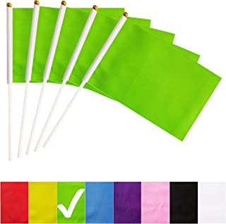 BCLin Green Stick Flags,50 Pack Hand Held Small Mini Solid Flag On Stick,5x8 Inch Outdoor Decoration,Party Decorations,Supplies for Parades, Festival Events Celebration (Green)
