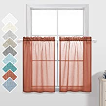 Sheer Curtains 24 Inch Length for Small Windows Set 2 Pack Rod Pocket Fall Decor Cafe Curtain Tier Terracotta Rust Burnt O...