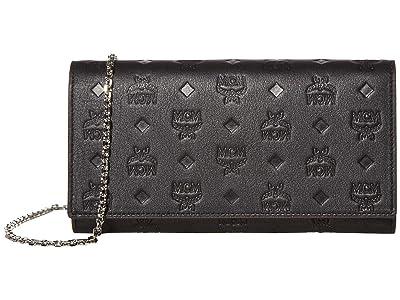 MCM Klara Monogrammed Leather Charm Flap Wallet (Black) Handbags