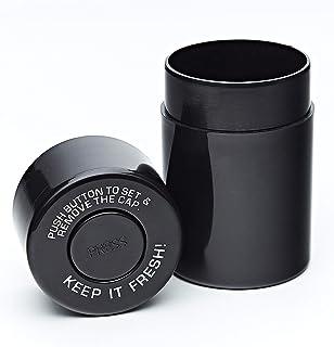 KEEP IT FRESH! Sealed Storage Container, UV Protect Smell Proof, Best Vacuum Jar To Preserve Herbs & Coffee, Keep Goods Fresh Airtight OdorProof Black Set - BONUS King Size Doob Tube, Labels & Marker