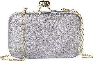 Wafly Clutch Glitzer, Leder Kettentasche Handtasche Abendtasche Damen für Party Hochzeit, Telefon bis zu 6,1 Zoll