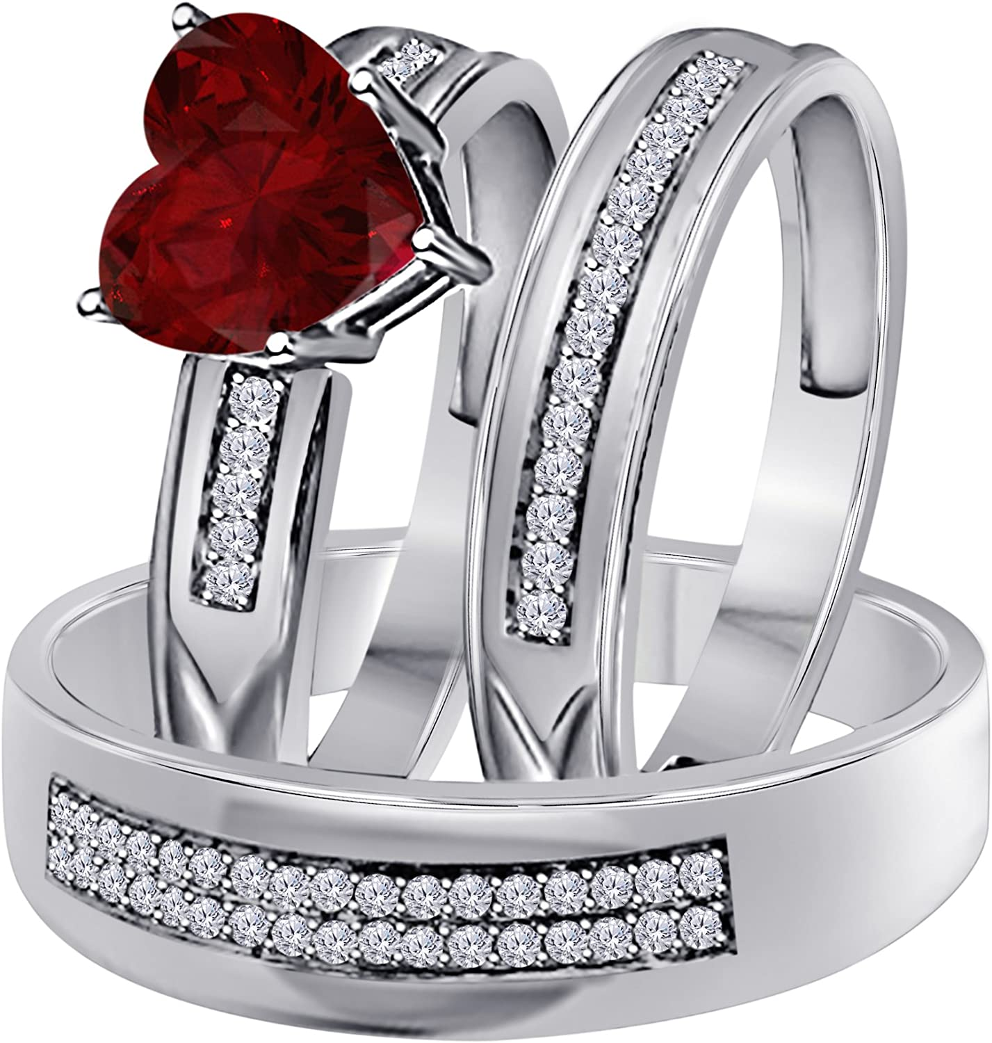 Details about  /Sterling Silver Round Brilliant Cut Ruby Red CZ Wedding Engagement Ring Set