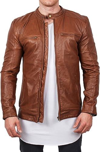 lines by cris d. fedd Echte Nappa Schafsleder Lederjacke Leather Jacket klassisch cogncac