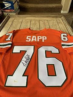 Authentic Autographed Warren Sapp/Jersey JSA Sticker Miami Hurricanes Buccaneers