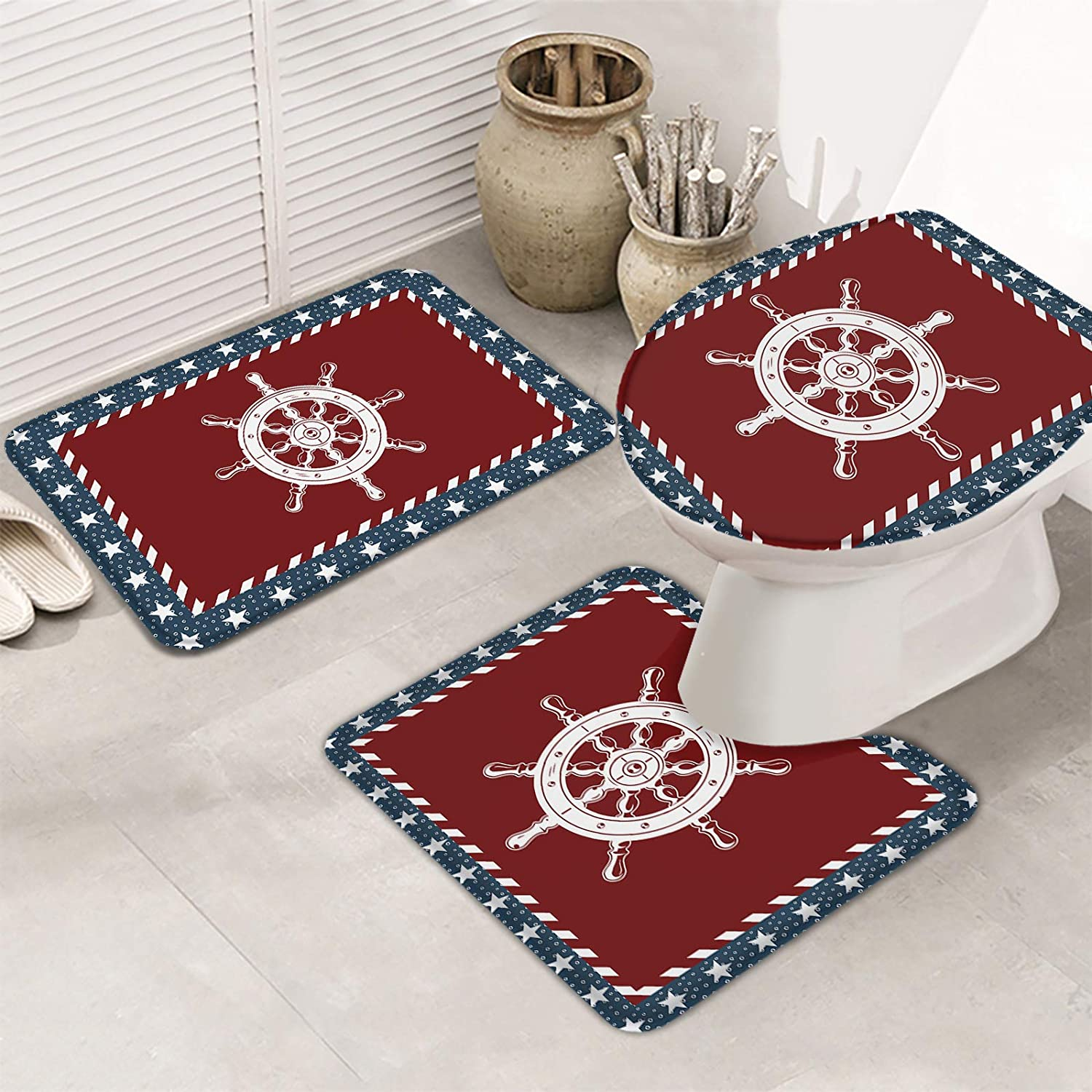 Women Trend 3 Piece Bath Rugs Day Set Reservation Max 76% OFF Independence Nautical Them