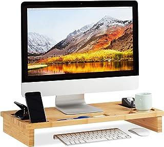 Relaxdays Support moniteur bambou, Rehaussement écran PC, Support d'écran espaces rangement HLP 9 x 60 x 30cm, naturel