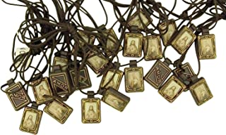 Religious Gifts Moulded Scapular with Sacred Heart and Our Lady Mt Carmel Panels, 14 Inch, Pack of 12