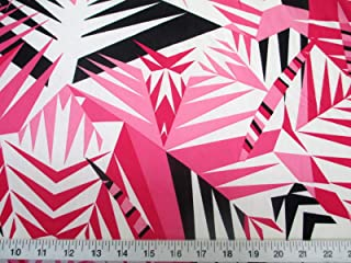 Discount Fabric Printed Jersey Knit ITY Stretch Pink Black Bamboo Leaves A302