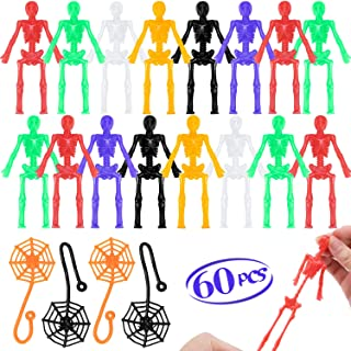Halloween Stretchy Skeletons Party Favors - 60 Pcs Assorted Stretchy Toys, 48 Bendable Skeleton Toys + 12 Sticky Spider We...