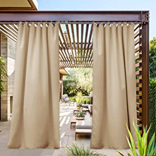 NICETOWN Outdoor Curtain for Deck Waterproof, W52 x L108, Triple Weave Sun Block Tab Top Wind Prevention, Thick Enough Protect You from Sun/Rain (Biscotti Beige, 52 inch by 108 inch, 1 Piece)