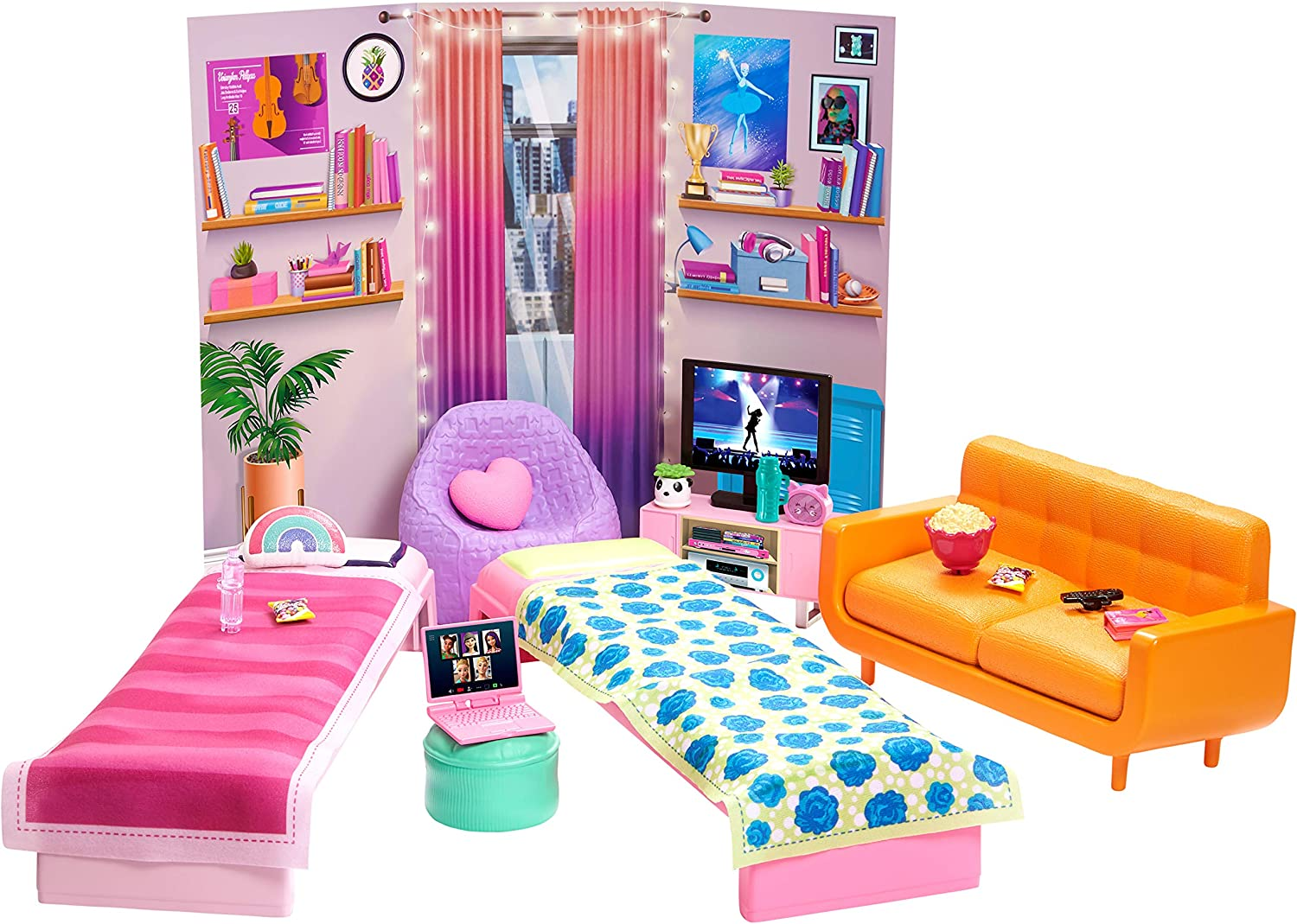 Buy Barbie Big City Big Dreams Dorm Room Playset With 2 Beds Couch Bean Bag Chair Bedroom Furniture Decor Accessories Gift For 3 To 7 Year Olds Online In Uk B08tztn6ly