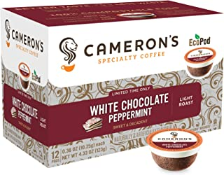 Cameron's Coffee Holiday Single Serve Pods, Flavored, White Chocolate Peppermint, 12 Count (Pack of 1)
