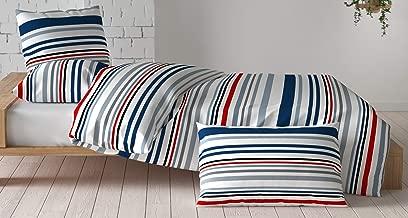 Loreto - A Quality Linen Brand 144 TC 100% Cotton Double Bedsheet with 2 Pillow Covers - Multi Colour (Stripes)