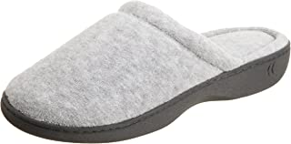 ISOTONER Women's Classic Terry Clog Slippers Slip on, Heather Grey, Large / 8.5-9 Regular US