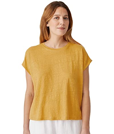 Eileen Fisher Crew Neck Boxy Top in Organic Linen Jersey
