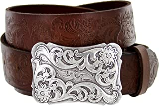 Women's Cowtown Western Tooled Full Grain Leather Belt 1 1/2 Wide Black Brown