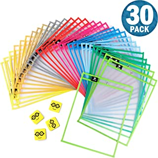 """$21 » Dry Erase Pockets Reusable Sleeves - 30 Pack, Heavy Duty Oversized 10x14"""" Clear Plastic Sheet Paper Protectors, 10 Assorted Colors, Teacher Supplies for Classroom, School & Homeschool Organization"""