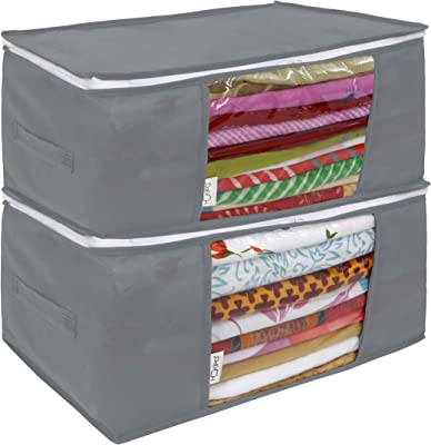 HOKIPO® Storage Boxes for Clothes, Saree Cover Bag, 45x30x20 cm, 2 Pieces