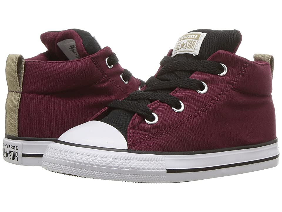 8df44ee5f3c9 Converse Kids Chuck Taylor(r) All Star(r) Street Mid (Infant Toddler) (Dark  Burgundy Black White) Boy s Shoes