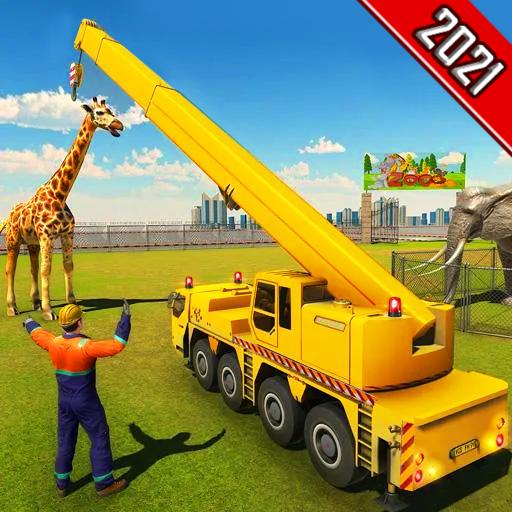 Modern City Safari Zoo Construction Simulator - Big Animal Truck Driving 3D Zoo Games - Zoo Animal Transportation Games 2021