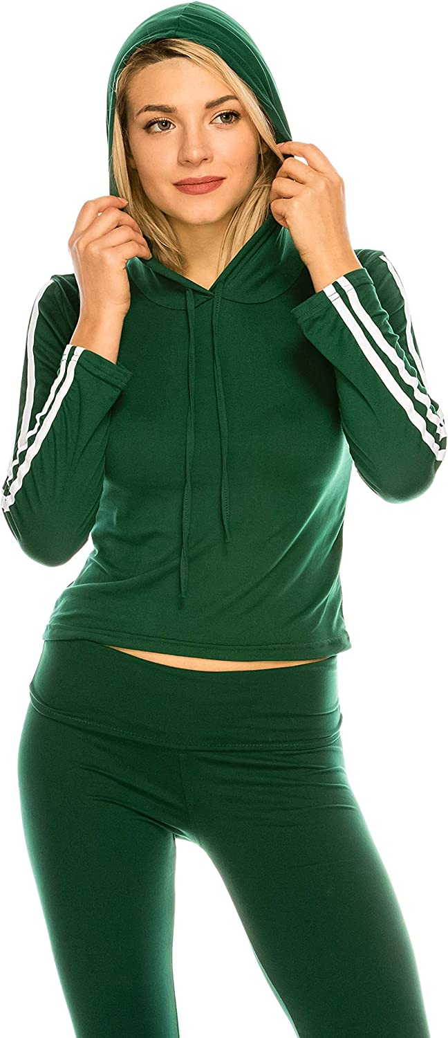 Always Women Stripes Hoodie Shirt  Premium Buttery Soft Stretch Workout Top Tee and Legging Set