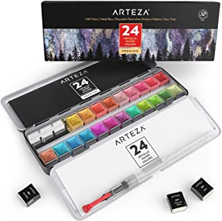 Arteza Metallic Watercolor Paints, Set of 24 Half Pans, Pearl Paint, Vibrant and Pearlescent Hues, Includes Storage Tin & ...