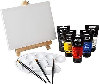 Kit Completo Lienzos para Pintar 18x24cm + Caballete + Set 5 Colores Pinturas Acrilicas + 3 Pinceles + Paleta | Artix PRO