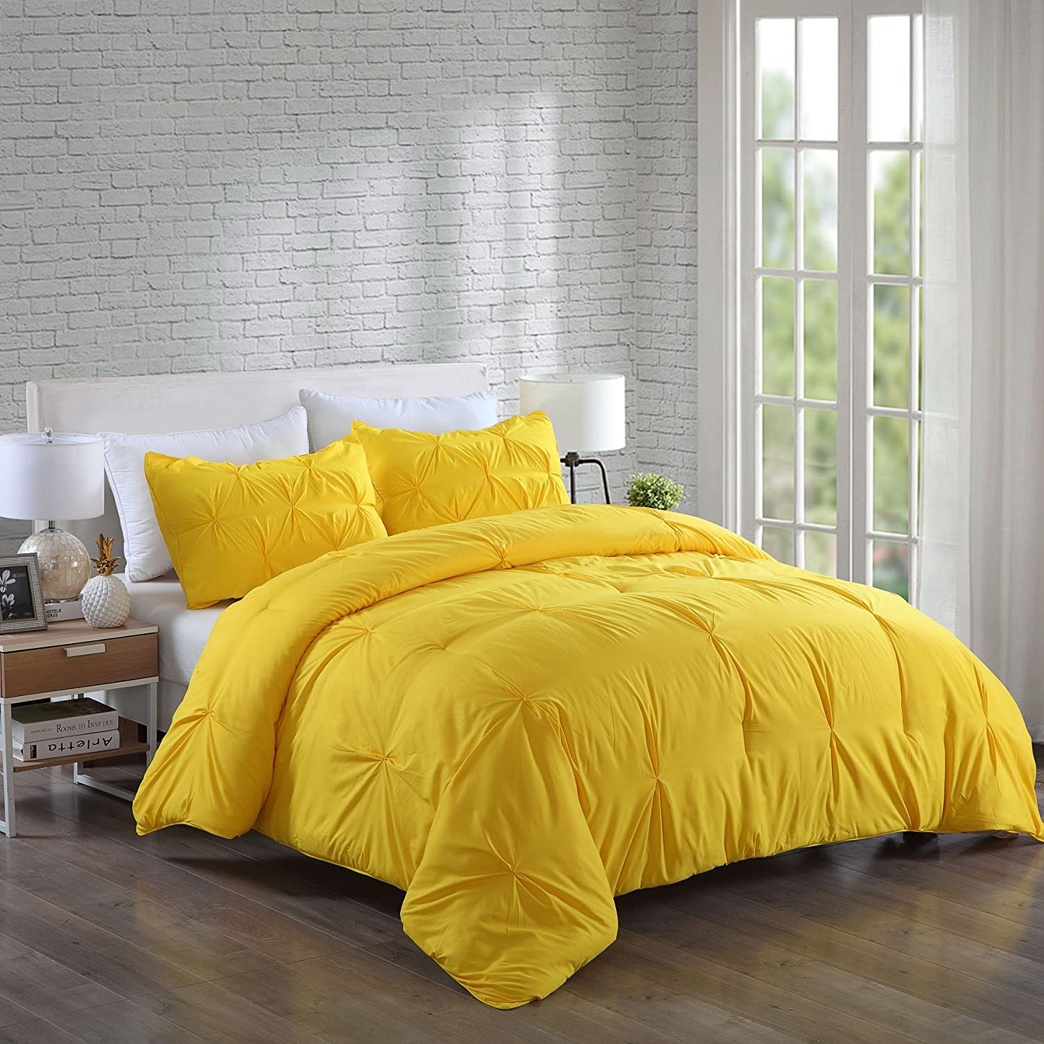 Lotus Home Water and Stain Resistant Pintuck Comforter Set King Yellow
