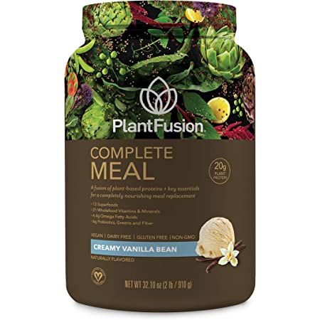 PlantFusion Complete Meal All Plant Based Pea Protein Powder | Meal Replacement Shake | Dietary Supplement | Nutritional Drink | Vegan, Gluten Free, Non-Dairy, No Sugar, Non-GMO Vanilla, 2 LB