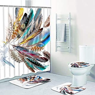 Claswcalor 4 Pcs Colorful Peacock Feathers Shower Curtain Sets with Non-Slip Rugs, Toilet Lid Cover and Bath Mat, Colorful Peacock Feathers Curtain with 12 Hooks, Durable Waterproof Shower Curtain