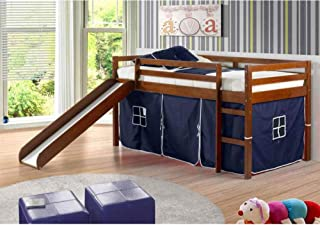 DONCO KIDS Twin Tent Loft with Slide and Slat-Kits Light Espresso, Blue Tent
