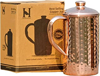 HealthGoodsIn - Pure Copper (99.74%) Hammered Water Jug | Copper Pitcher for Ayurveda Health Benefits (50.7 US Fluid Ounce)