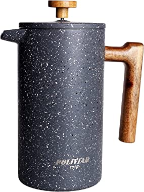 POLIVIAR French Press Coffee Maker, 34 Ounce Coffee Press with Teak Wood Handle, Double Wall Insulation & Dual-Filter Screen,