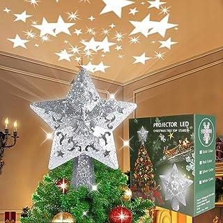 TOYANDONA 2 Pezzi Dorati Decorazioni a Stella Albero di Natale Ornamenti Appesi Stelle Glitterate Abbellimenti Festivi