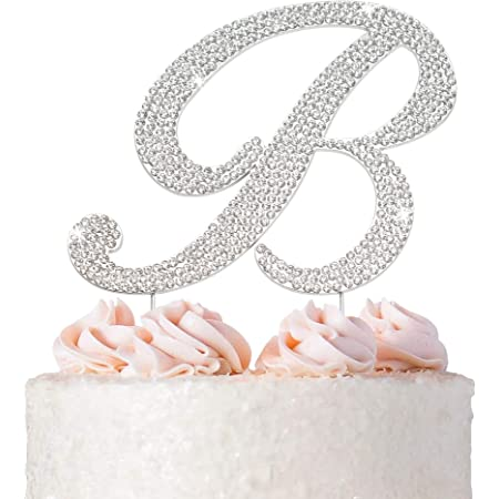 Large Monogram Letter A  OR B script CakeTopper in rhinestones wedding birthday Bling cake topper silver I do shoe sticker