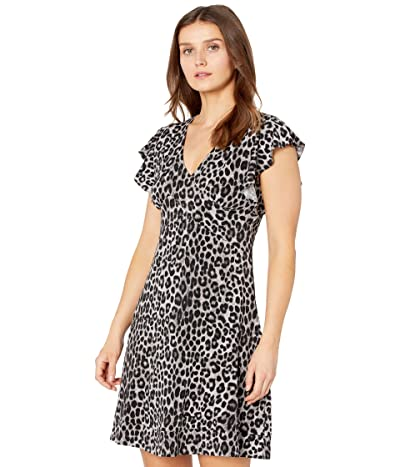 MICHAEL Michael Kors Petite Mega Cheetah Seamed Dress (Gunmetal) Women