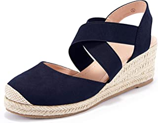 Womens Espadrille Platform Wedge Sandals Closed Cap Toe Strappy Criss Cross Slip on Mid Heel Slingback Sandals