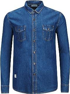 Men's Button-Down Shirt Long Sleeve Cotton Slim-Fit Denim Shirt Cowboy Wash Craft Shirts